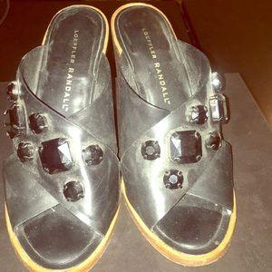 Loeffler Randall black open toe beaded sandals